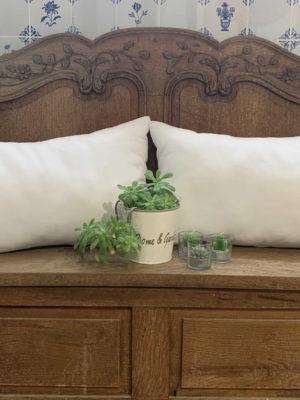 paire de coussins en drap ancien blanc, bordés de bordure raffinées des draps anciens, chaque coussin mesure 34 cms X 54 cms , est 100% coton et déhoussable, finition portefeuille. Ces coussins sont des modèles uniques.